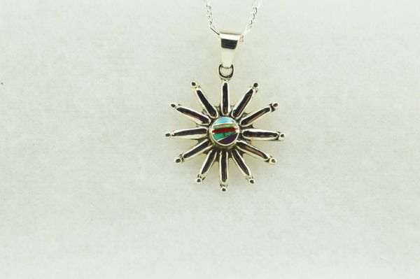 """Sterling silver multi color inlay sun pendant with sterling silver figaro 18"""" chain. N135."""