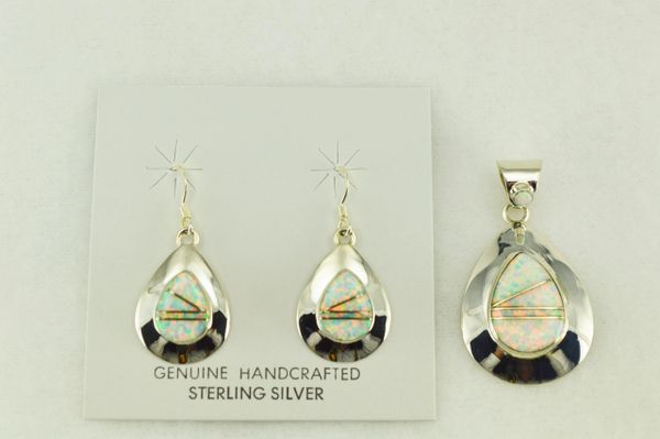 Sterling silver white opal inlay teardrop shaped earrings and pendant set. S193