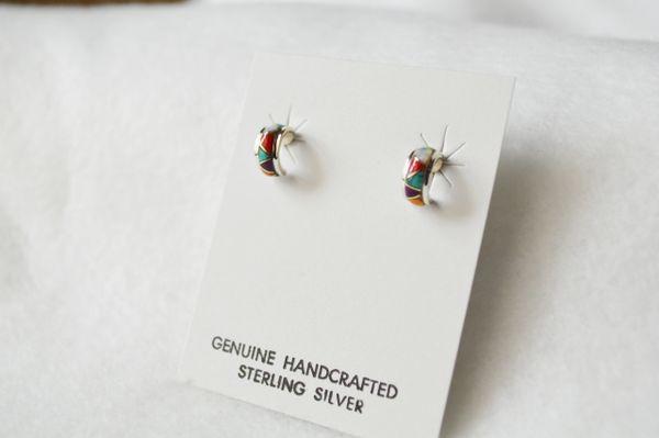 Sterling silver multi color post earring (E003)