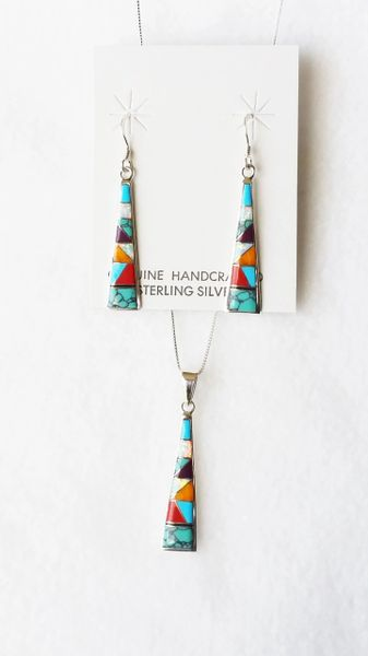 "Sterling silver multi color inlay tall triangle dangle earrings and 18"" sterling silver box chain necklace set. S118"