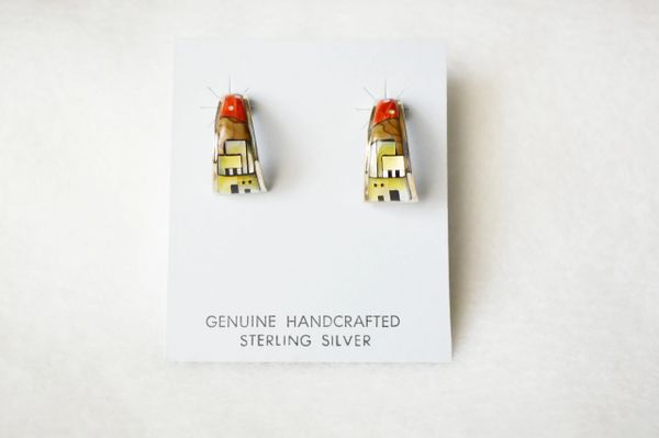 Sterling silver multi color adobe inlay w/spiny oyster sky post earrings. E338