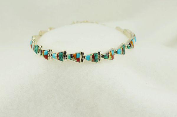 """Sterling silver multi color oval link 7"""" bracelet. B097"""