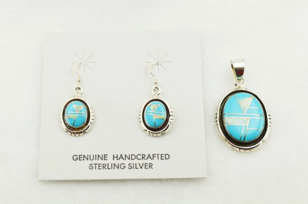 Sterling silver white opal and turquoise inlay edged oval earrings and pendant set. S292