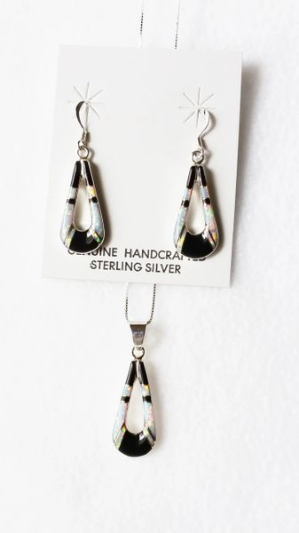 """Sterling silver black onyx inlay hollow teardrop dangle earrings and 18"""" sterling silver box chain necklace set. S057"""