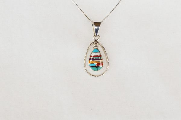 "Sterling silver multi color inlay teardrop in hoop pendant with sterling silver 18"" box chain. N011"