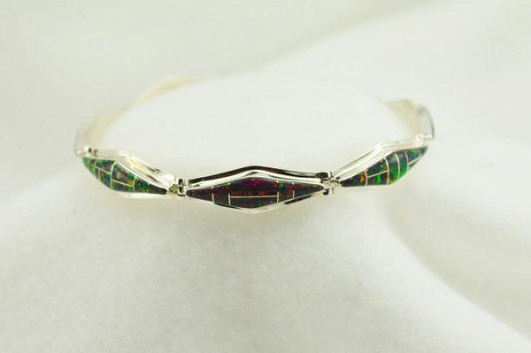 "Sterling silver black opal inlay 7.5"" link bracelet. B062"