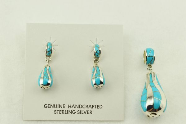Sterling silver turquoise inlay twisty bulb shaped earrings and pendant set. S245