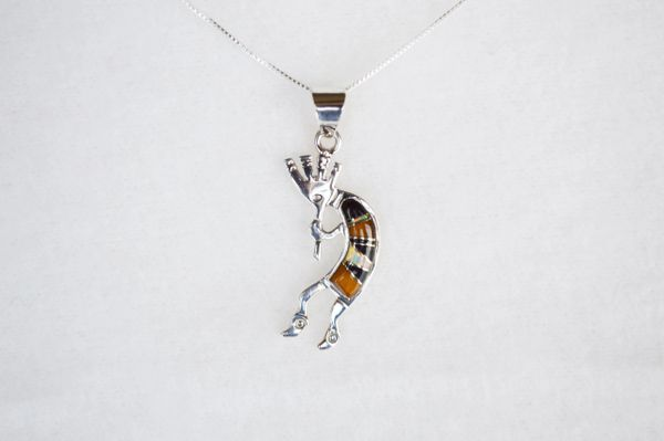 """Sterling silver white opal, tiger eye and black onyx inlay kokopelli pendant with sterling silver 18"""" box chain. N107."""