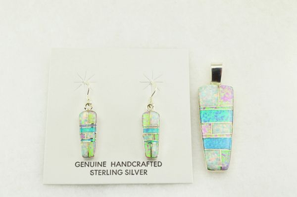 Sterling silver white, blue and pink opal inlay pillar shaped earrings and pendant set. S162