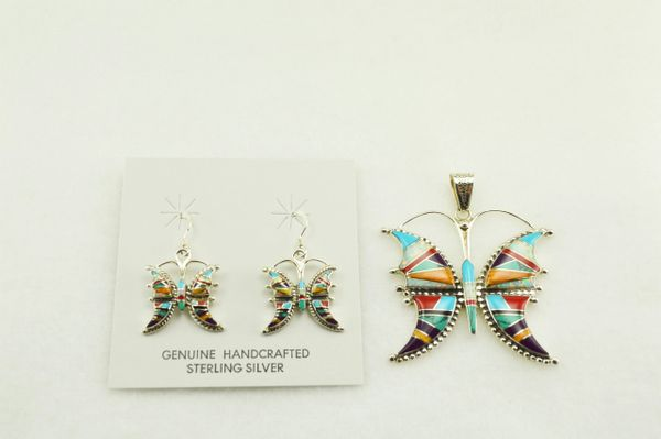 Sterling silver multi color inlay butterfly earrings and pendant set. S146