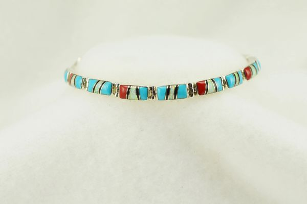 "Sterling silver multi color inlay link 7.5"" bracelet. B114"