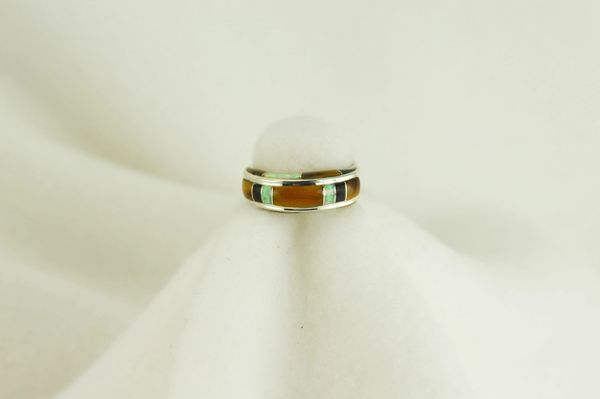 Sterling silver tiger eye, black onyx and white opal inlay ring. R045