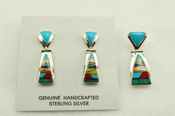Sterling silver multi color inlay triangle post earrings and pendant set. S158