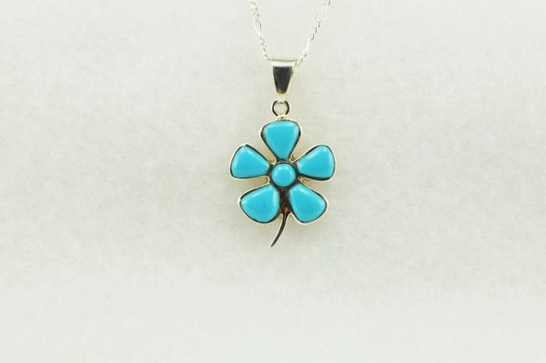 "Sterling silver turquoise flower pendant with sterling silver 18"" figaro chain. N205"