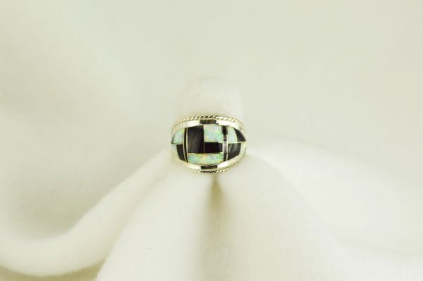 Sterling silver black onyx and white opal inlay ring. R079