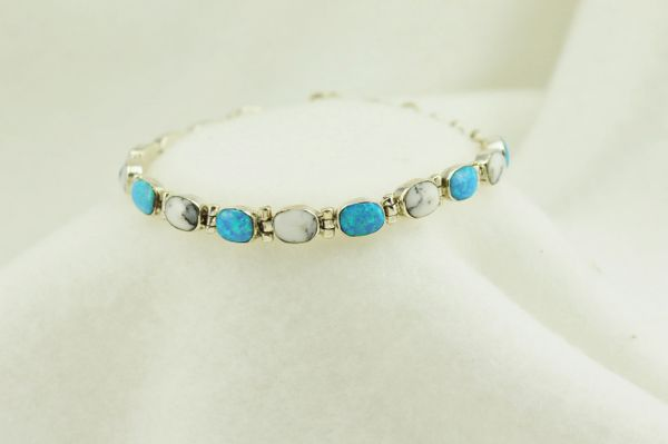 "Sterling silver howlite and blue opal link 7.25"" bracelet. B057"