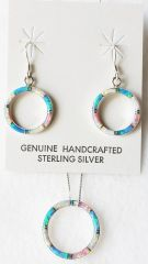 "Sterling silver blue, white and pink opal inlay hoop dangle earrings and 18"" sterling silver box chain necklace set. S031"