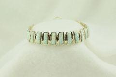 "Sterling silver white opal link 7.75"" bracelet. B094"