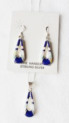 """Sterling silver white opal and lapis inlay hollow teardrop dangle earrings and 18"""" sterling silver box chain necklace set. S036"""