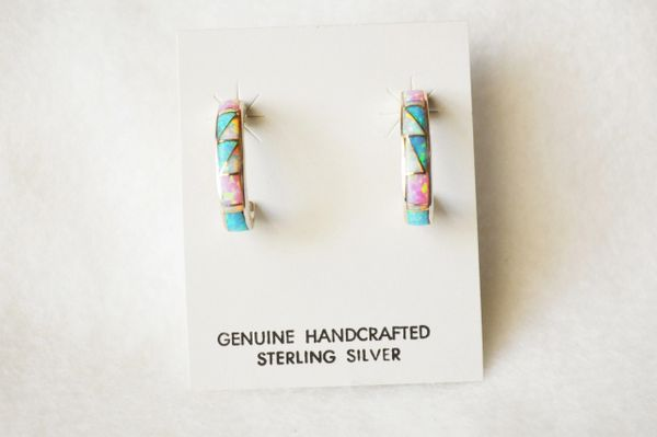 Sterling silver white, blue and pink opal inlay 3/4 hoop post earrings. E229