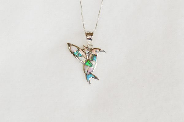 """Sterling silver white opal, blue opal, pink opal and turquoise hummingbird pendant with 18"""" sterling silver box chain. N053."""