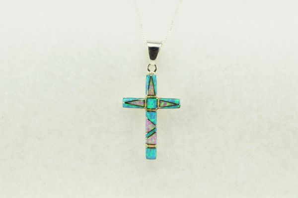 "Sterling silver blue opal and pink opal inlay cross pendant with sterling silver 18"" figaro chain. N209"