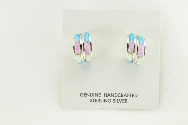 Sterling silver white, blue and pink opal inlay double hoop post earrings. E358