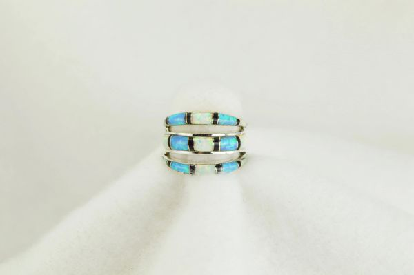 Sterling silver white opal, black onyx and blue opal inlay ring. R005