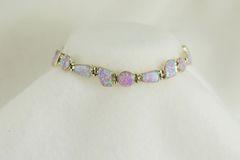 "Sterling silver pink opal inlay 8.25"" link bracelet. B020"