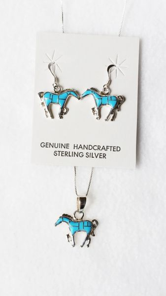 """Sterling silver turquoise inlay horse dangle earrings and 18"""" sterling silver box chain necklace set. S070"""