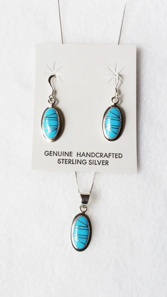 "Sterling silver turquoise inlay oval dangle earrings and 18"" sterling silver box chain necklace set. S069"