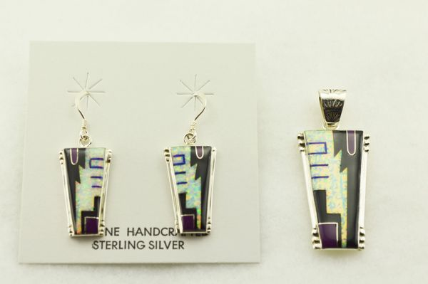 Sterling silver multi color pillar shaped earrings and pendant set. S290