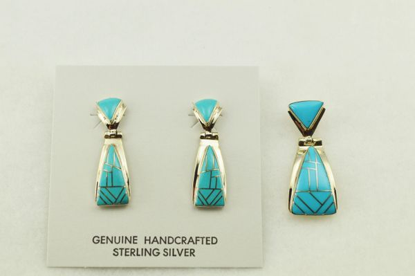 Sterling silver turquoise inlay triangle earrings and pendant set. S248