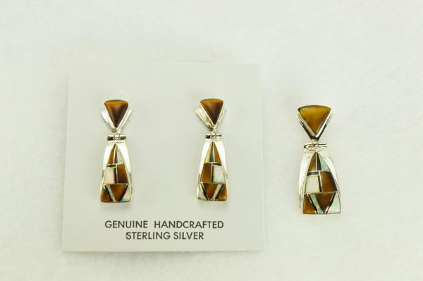Sterling silver white opal, tiger eye and black onyx inlay triangle post earrings and pendant set. S341