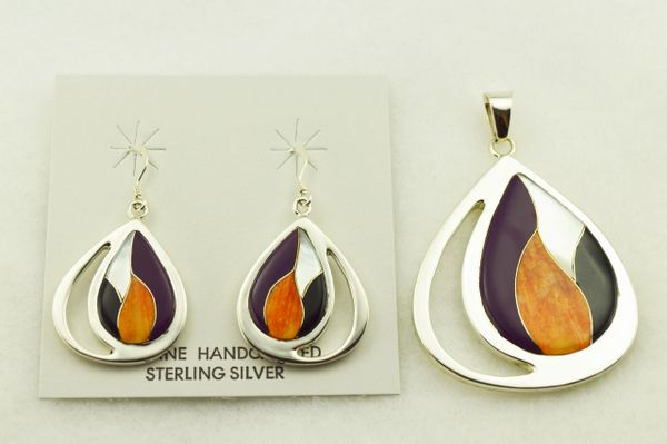 Sterling silver multi color inlay raindrop oval earrings and pendant set. S320
