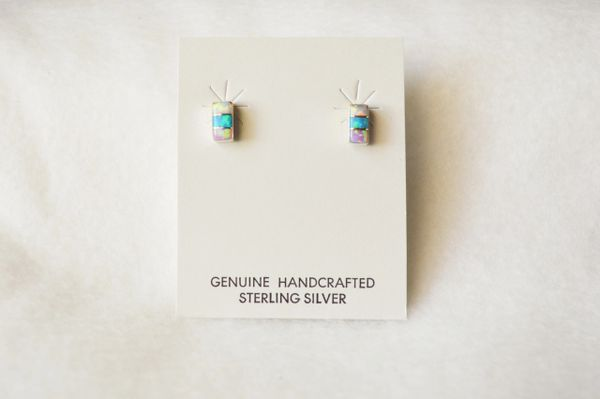 Sterling silver blue, white and pink opal inlay rectangle post earrings. E195