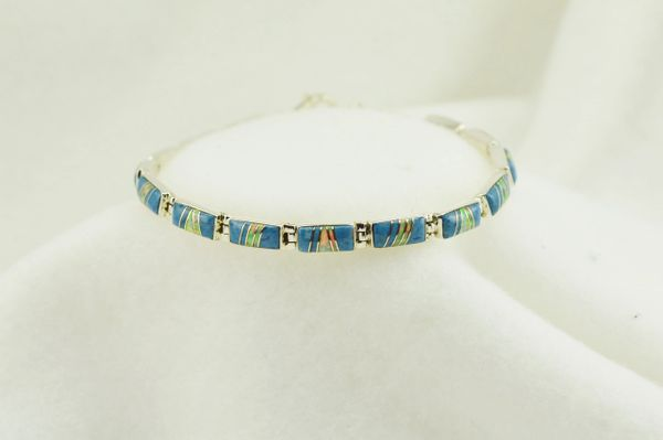 "Sterling silver denim lapis and white opal inlay link 7.5"" bracelet. B053"
