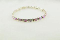 "Sterling silver pink opal oval 7.5"" link bracelet. B023"
