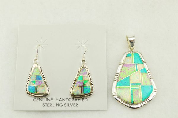 Sterling silver white, blue and pink opal inlay stone shaped earrings and pendant set. S173