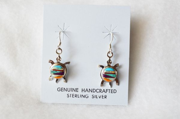 Sterling silver inlay multi color turtle dangle earrings. E090