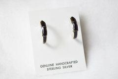Sterling silver black onyx inlay medium tapered hoop post earrings. E285