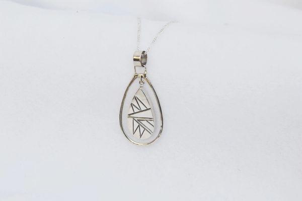 "Sterling silver teardrop in a hoop pendant with sterling silver 18"" figaro chain. N175"