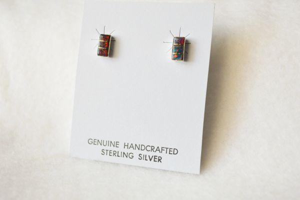 Sterling silver black opal inlay rectangle post earrings. E193
