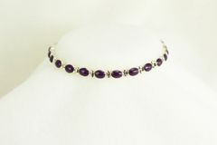 "Sterling silver sugilite inlay oval 7.5 "" link bracelet.  B013"