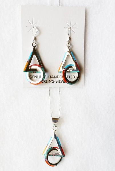 "Sterling silver multi color inlay hoop in triangle dangle earrings and 18"" sterling silver box chain necklace set. S001"