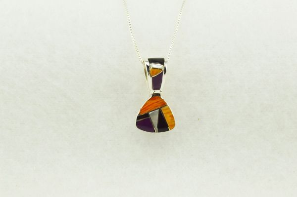 "Sterling silver multi color inlay pick shaped pendant with sterling silver 18"" box chain. N269"