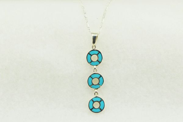 """Sterling silver turquoise inlay 3 tier oval pendant with sterling silver 18"""" figaro chain. N212"""