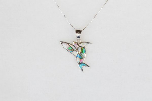 """Sterling silver white, blue and pink opal inlay hummingbird pendant with sterling silver 18"""" box chain. N130."""
