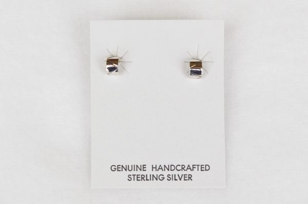 Sterling silver fashion half rounds post earrings. (E034)