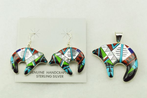 Sterling silver multi color inlay spirit bear earrings and pendant set. S226